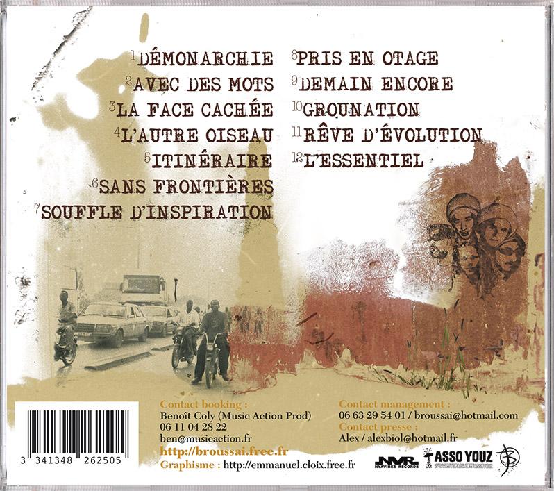 Campagne d'album Broussai Avec des mots CD back - Emmanuel Cloix