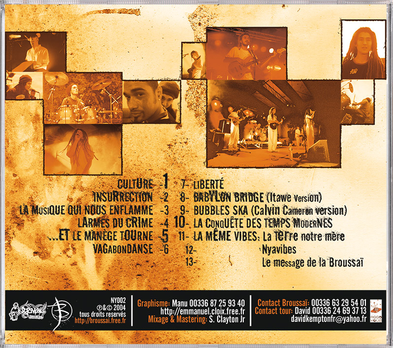 Campagne d'album Broussai Insurrection CD back - Emmanuel Cloix